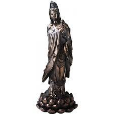 Tall statues for home decor Wood Carving Kuan Yin Foot Tall Statue At Mythic Decor Dragon Statues Angels Demons Mythic Decor Kuan Yin Foot Tall Statue Goddess Of Mercy Large Statue