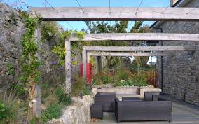 Simple Pergola beautiful gray silvered beams with galvanized wire for hanging 7196 by uwakikaiketsu.us