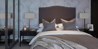 gray and brown bedroom. gray and brown bedroom with paisley wallpaper