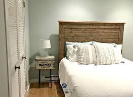 benjamin moore sea glass sea salt best green blue paint colour in guest bedroom with wood