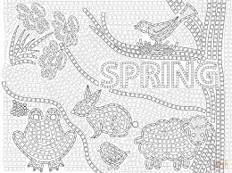 Spring Mosaic Coloring Page From Mosaic