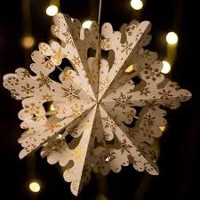 10 gold glitter ornate premium handcrafted paper snowflake hanging decoration