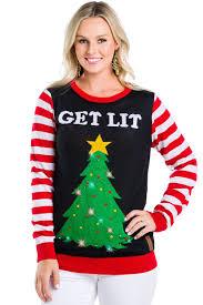Light Up Christmas Sweater Kids Get Lit Womens Light Up Christmas Sweater Tipsy Elves