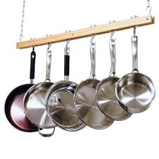 Pot Rack With Lights Home Depot Cooks Standard 36 In Single Bar Ceiling Mounted Wooden Pot