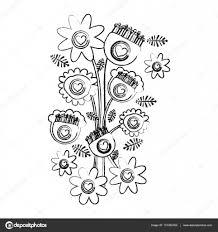 レトロな花チューリップひまわりとデイジーの花束とモノクロのぼやけた