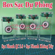 Box Sạc Dự Phòng Mica Trong Suốt Mạch Sạc Nhanh QC 3.0 - Sạc Nhanh Không Dây