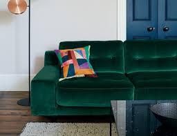 hendricks sage green velvet small right hand corner sofa