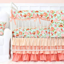 baby girl bedding mint and c vintage fl ruffle baby bedding difziuu