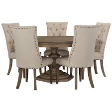 Haddie Light Tone Round Table Includes Round Dining Table And Four Upholstered Chairs Put