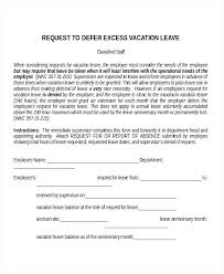 Leave Request Sample Letter Format For Vacation Leave Request Sample