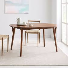 mid century round expandable dining table