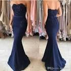 Blue strapless prom dress 2017