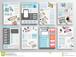 Infographic Website Template Set Of Flyer Design Web Templates Brochure Designs Stock Vector