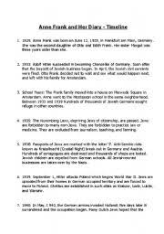 worksheet anne frank timeline activity english worksheet anne frank timeline activity