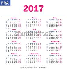 Horizontal Calendar French Calendar 2017 Horizontal Calendar Grid Stock Vector