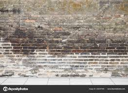old brown brick wall tile road stock photo