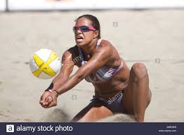 15 August 2009: Priscilla Lima digs during the 2009 AVP Crocs Tour Stock  Photo - Alamy