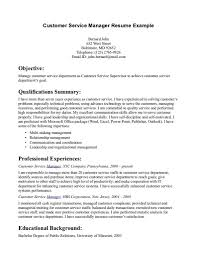 Objective For Resume In Customer Service Resumes Objectives Job