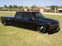 1993 Chevy blk on blk 4dr dually on bags