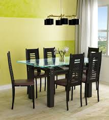 Glass top dining sets Round Buy Milan Six Seater Dining Set With Glass Top Wooden Base By Parin Online Six Seater Dining Sets Dining Furniture Pepperfry Product Pepperfry Buy Milan Six Seater Dining Set With Glass Top Wooden Base By