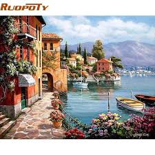 ruopoty frame venice resorts seascape diy painting by numbers handpainted oil
