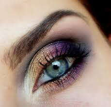 best eye makeup ideas for blue eyes gold and purple