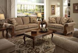 Tan Living Room Furniture Tan Fabric Traditional Sofa Loveseat Set W Optional Items