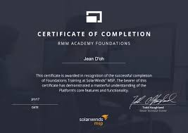 Certificate Of Completion Training Magnificent Remote Management Academy Foundations SolarWinds MSP