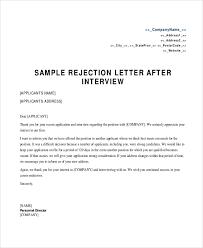 Rejection Letters Formal Rejection Letter Internship Rejection In
