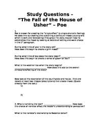 edgar allan poe the fall of the house of usher teaching resources   reading comprehension questions poe s the fall of the house of usher