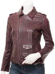 women s leather biker jacket in oxblood blossburg closed