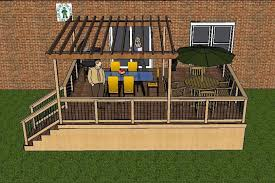 drawing of a large single level deck with pergola pergola plans96