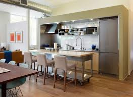 one wall contemporary kitchen design with portable island