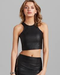 olivaceous top faux leather crop
