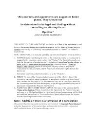 Contractual Joint Venture Agreement Template Free Simple
