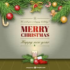 Elegant Merry Christmas Card Vector Vector Free Download