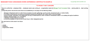 Manager Food Concession Work Experience Certificates Experience
