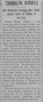 Thomas Wesley Daniels' Obit from Richwood Gazette - Newspapers.com