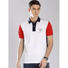 tommy hilfiger white cotton colour blocked polo collar t shirt