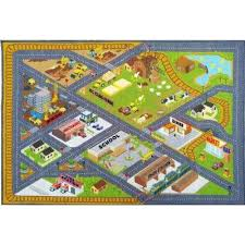 multi color kids children bedroom country farm road map construction educational learning 5 ft