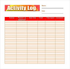 Daily Activities Template 10 Activity Log Templates Word Excel Pdf Templates
