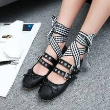 Yesstyle Shoe Size Chart Buckled Lace Up Flats