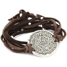 ettika brown leather wrap bracelet silver colored phaistos c polyvore