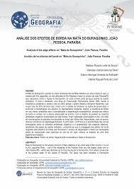 PDF) ANÁLISE DOS EFEITOS DE BORDA NA MATA DO BURAQUINHO, JOÃO PESSOA,  PARAÍBA