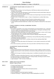 Algorithmic Trading Resume Samples Velvet Jobs