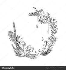 葉花羽と宝石を持つ手描きの背景の花のフレームスタイルをスケッチ