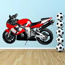 motorbike wall decals red motorbike wall sticker motorcycle wall decal boys  bedroom home red motorbike wall