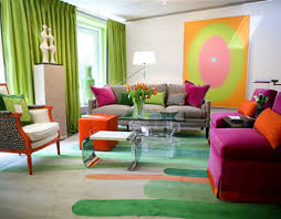 Pink And Green Living Room Bright Living Room Design Withpink Sofa Grey Sofa Green Curtain