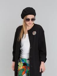 black <b>cotton beret</b>