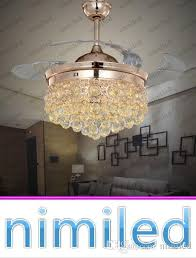 2018 nimi843 36 42 crystal invisible ceiling fan light lights living room lighting led chandelier remote control mute pendant lamp from nimiled